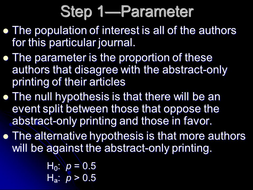 Step 1—Parameter The population of interest is all of the authors for this particular journal.