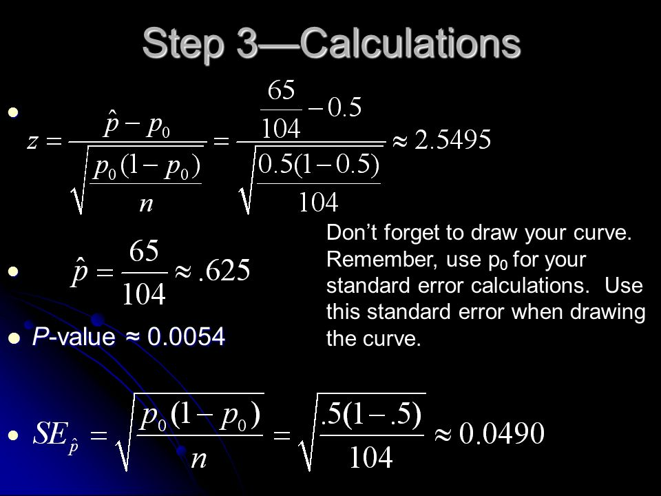 Step 3—Calculations P-value ≈ 0.0054