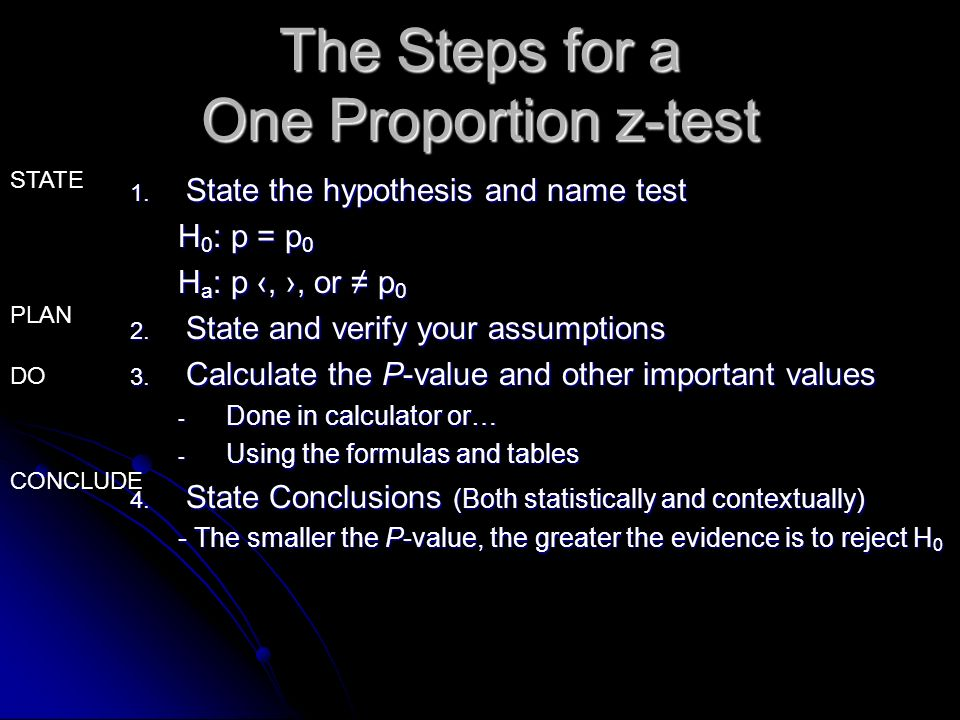The Steps for a One Proportion z-test