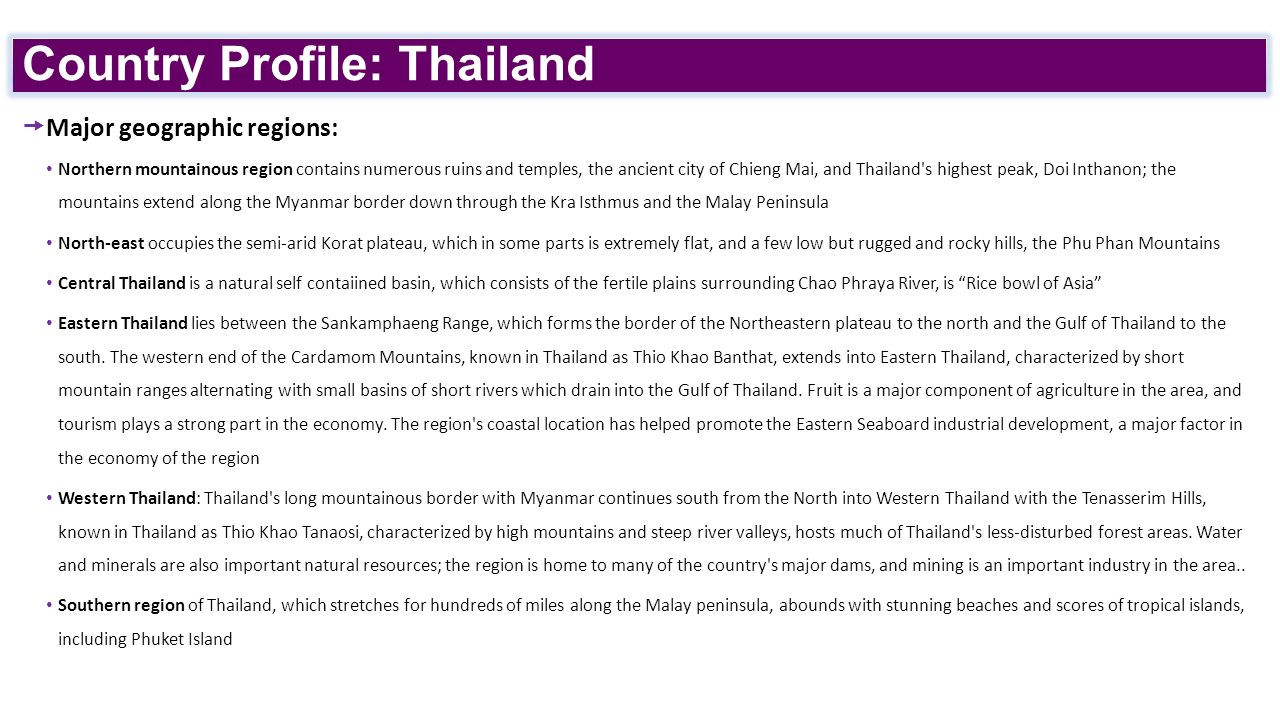thailand country profile Asean or the association of southeast asian nations is an international organization established by the governments of indonesia, malaysia, the philippines, singapore and thailand in 1967 to.