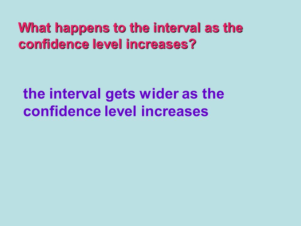 the interval gets wider as the confidence level increases