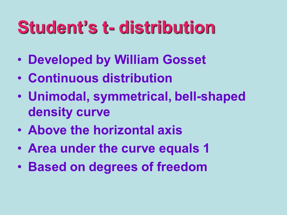 Student's t- distribution