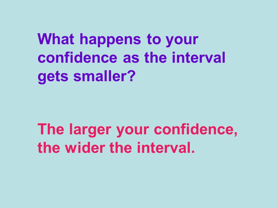 What happens to your confidence as the interval gets smaller