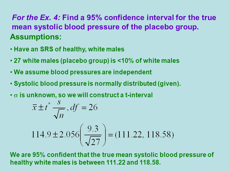 For the Ex. 4: Find a 95% confidence interval for the true mean systolic blood pressure of the placebo group.