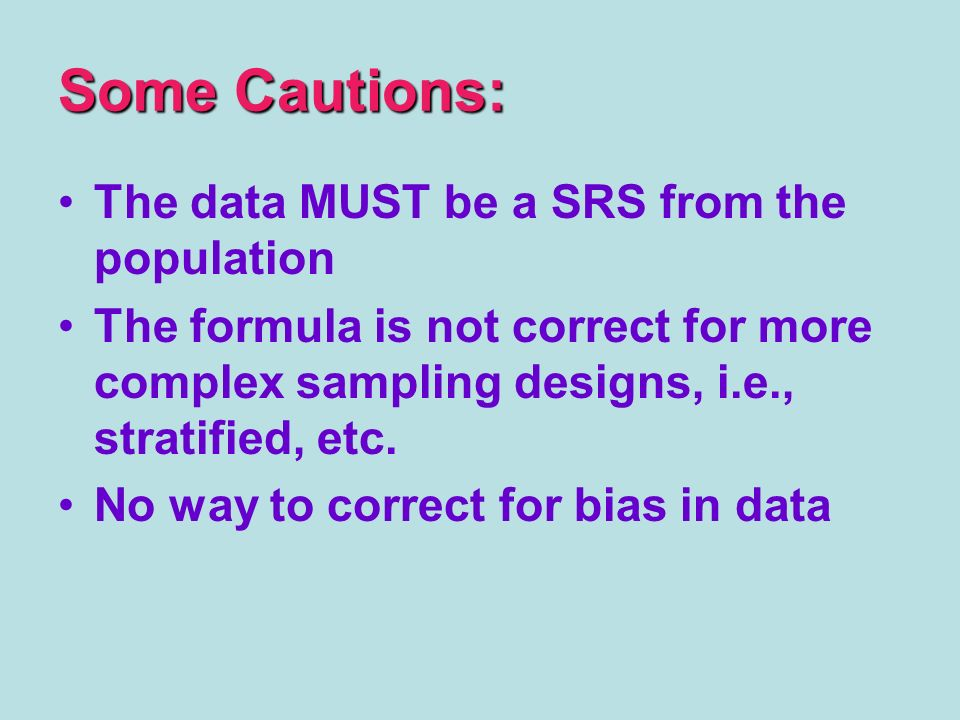 Some Cautions: The data MUST be a SRS from the population