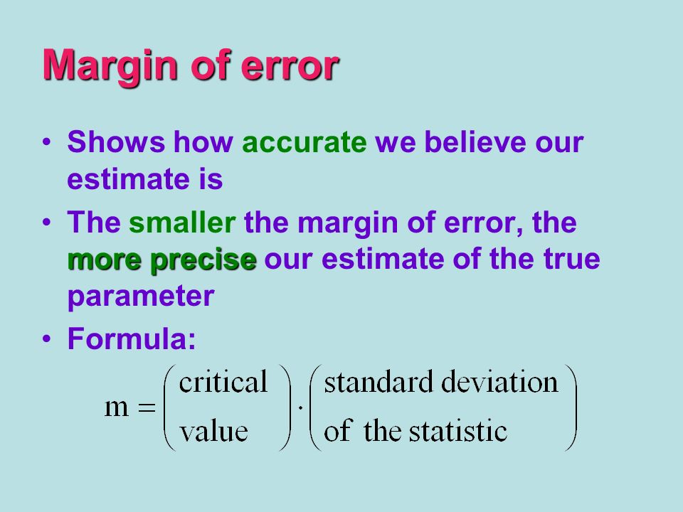 Margin of error Shows how accurate we believe our estimate is