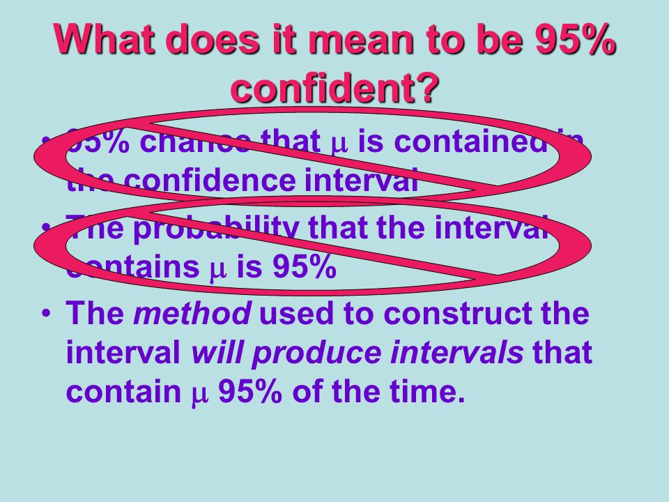 What does it mean to be 95% confident