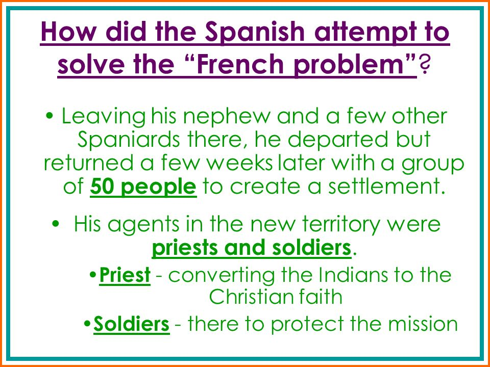 How did the Spanish attempt to solve the French problem