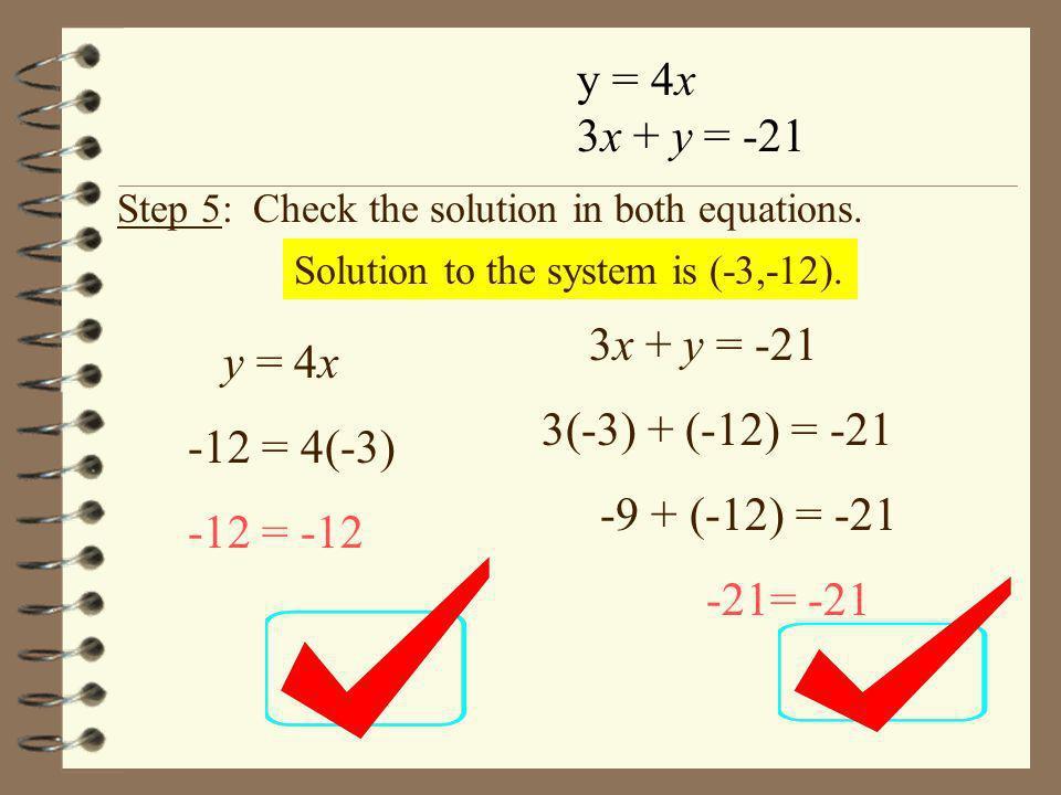y = 4x 3x + y = -21 3x + y = -21 y = 4x 3(-3) + (-12) = -21
