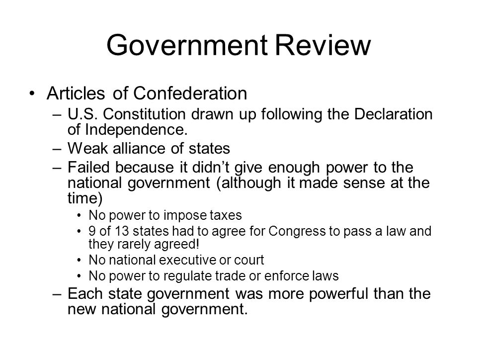Government Review Articles of Confederation