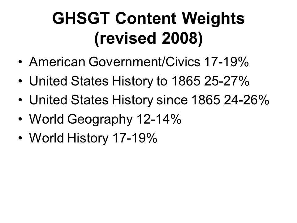 GHSGT Content Weights (revised 2008)