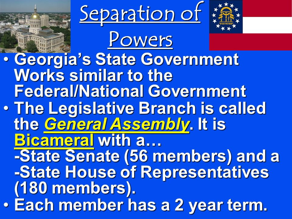 Separation of Powers Georgia's State Government Works similar to the Federal/National Government.
