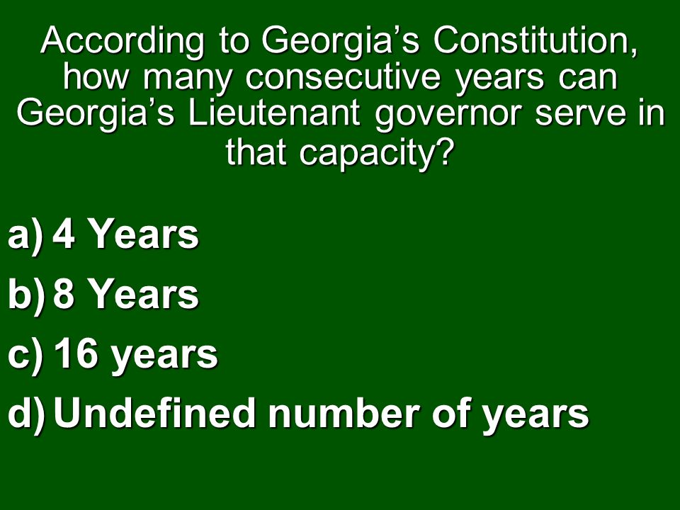 Undefined number of years