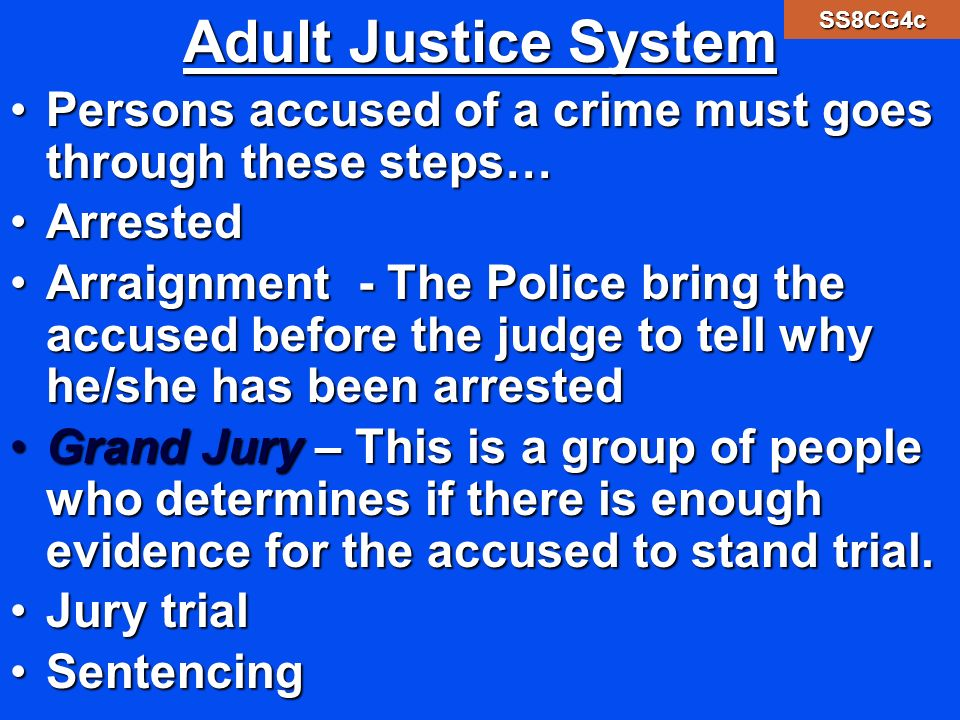Adult Justice System SS8CG4c. Persons accused of a crime must goes through these steps… Arrested.