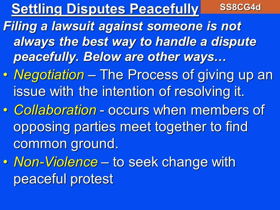 Settling Disputes Peacefully