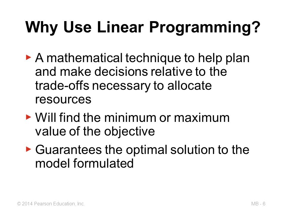 using linear programming to help golding 692 module blinear programming linear programming (lp) a mathematical technique designed to help operations managers plan and make decisions relative to the trade-offs necessary to allocate.