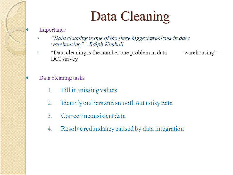 Data Cleaning Fill in missing values