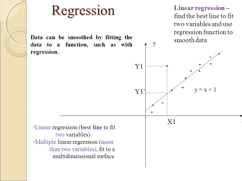 Regression Linear regression – find the best line to fit two variables and use regression function to smooth data.