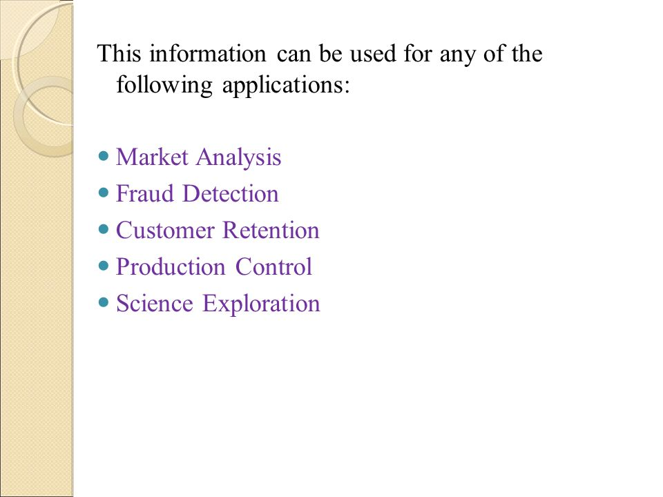This information can be used for any of the following applications: