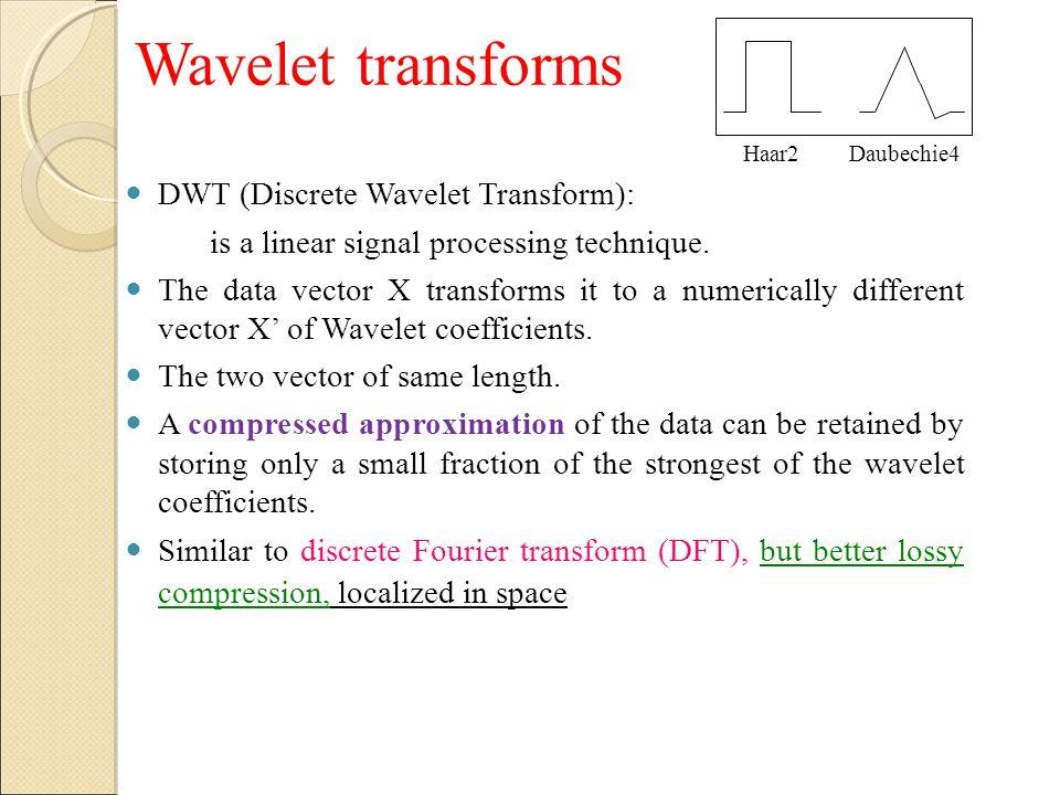 Wavelet transforms DWT (Discrete Wavelet Transform):