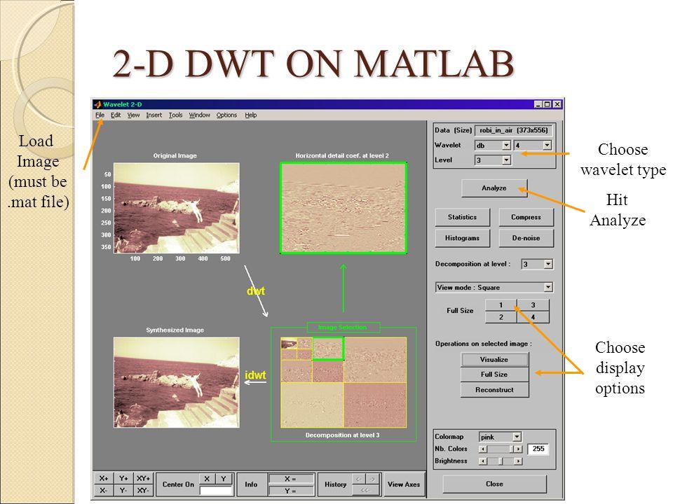2-D DWT ON MATLAB Load Image Choose (must be wavelet type .mat file)