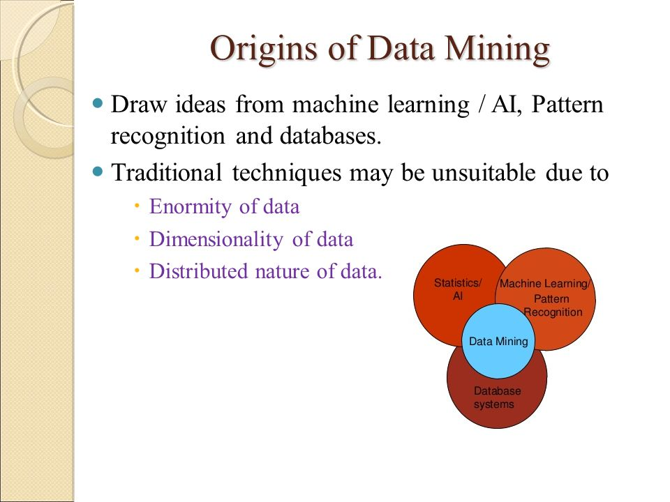 Origins of Data Mining Draw ideas from machine learning / AI, Pattern recognition and databases. Traditional techniques may be unsuitable due to.