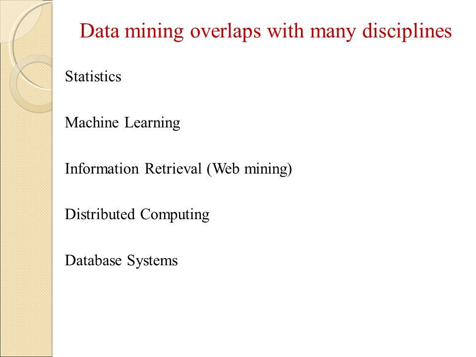 Data mining overlaps with many disciplines