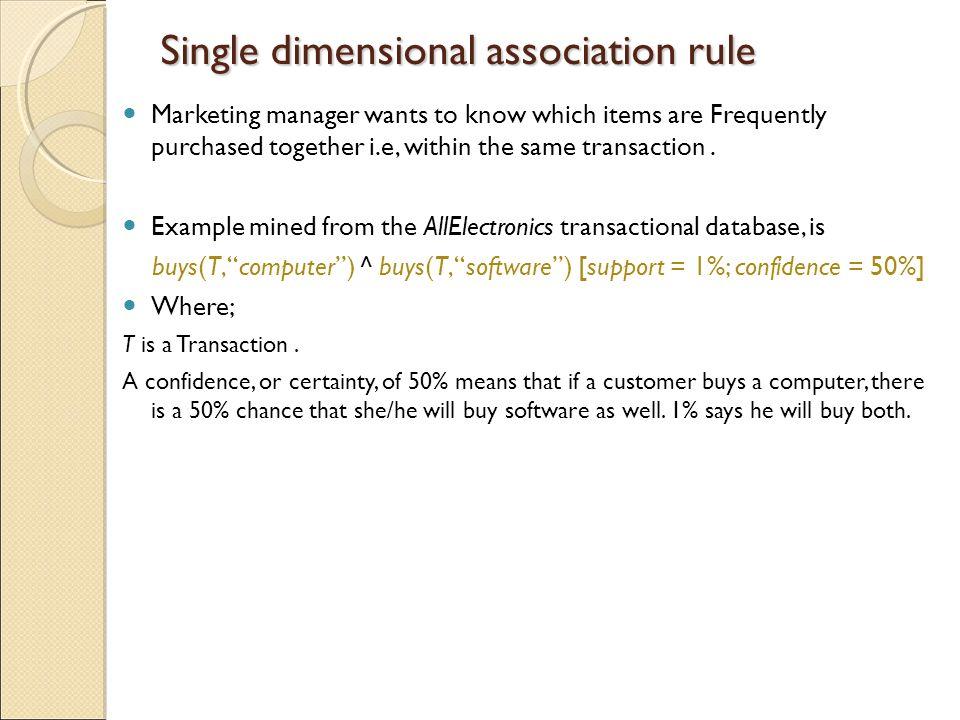 Single dimensional association rule