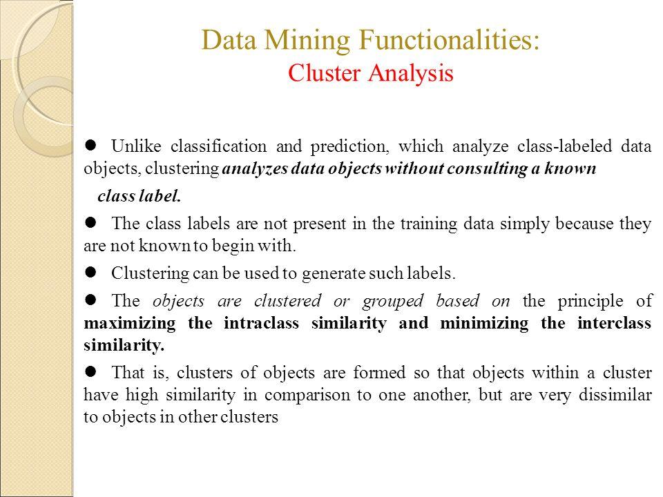 Data Mining Functionalities: Cluster Analysis