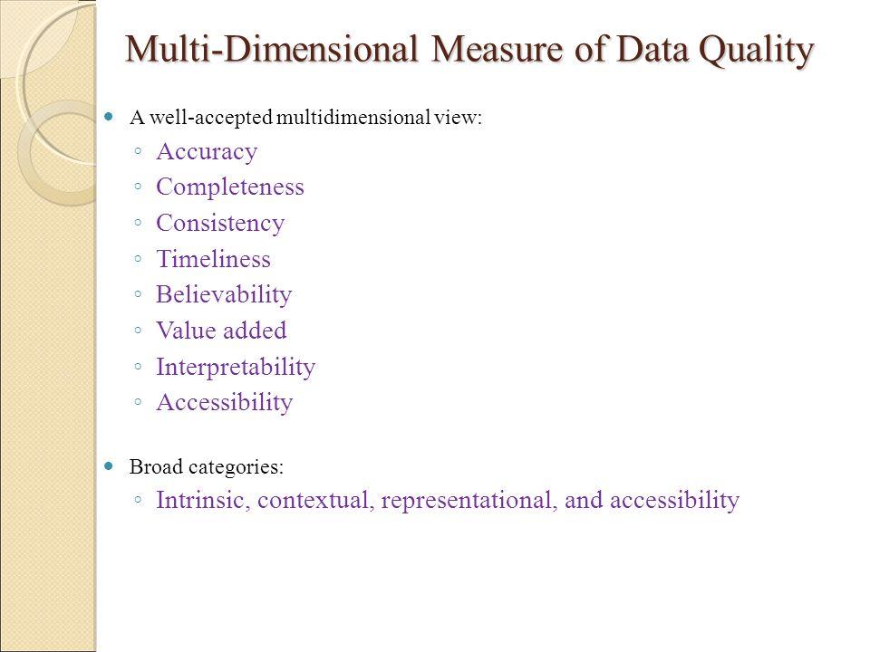 Multi-Dimensional Measure of Data Quality