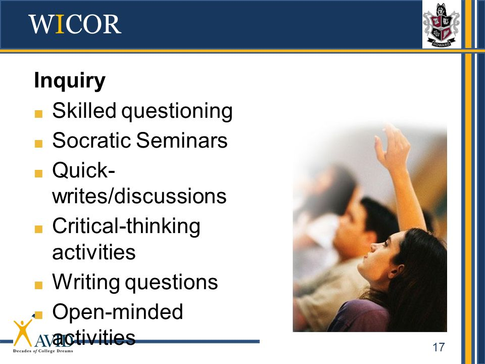 WICOR Inquiry Skilled questioning Socratic Seminars