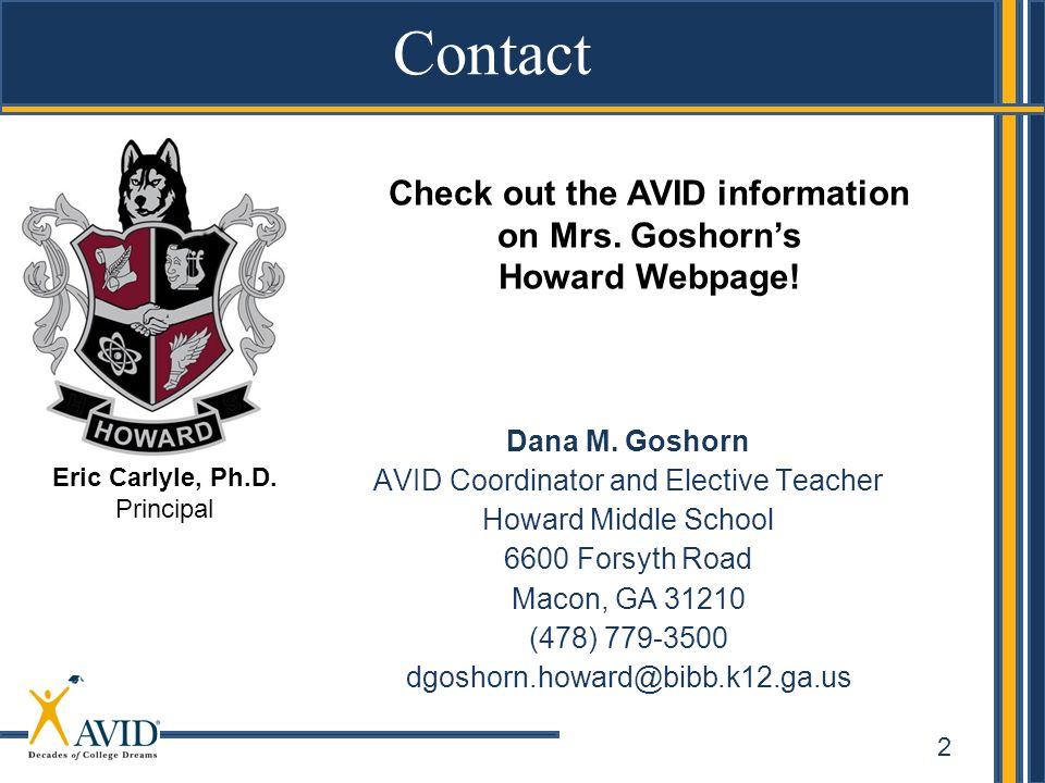 Check out the AVID information