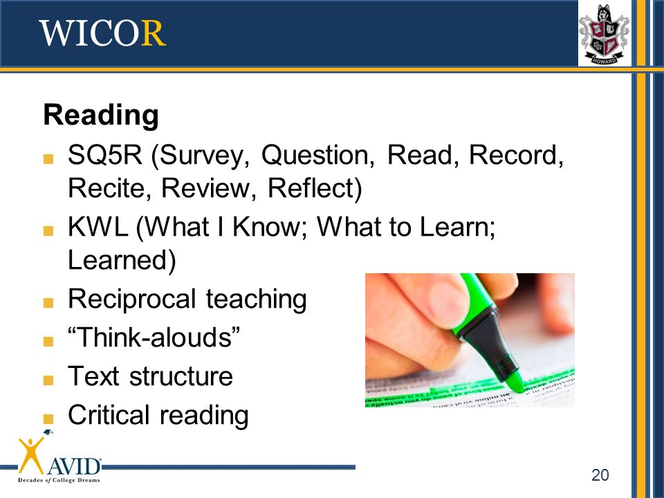 WICOR Reading. SQ5R (Survey, Question, Read, Record, Recite, Review, Reflect) KWL (What I Know; What to Learn; Learned)