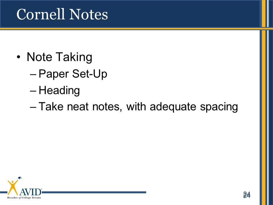 Cornell Notes Note Taking Paper Set-Up Heading