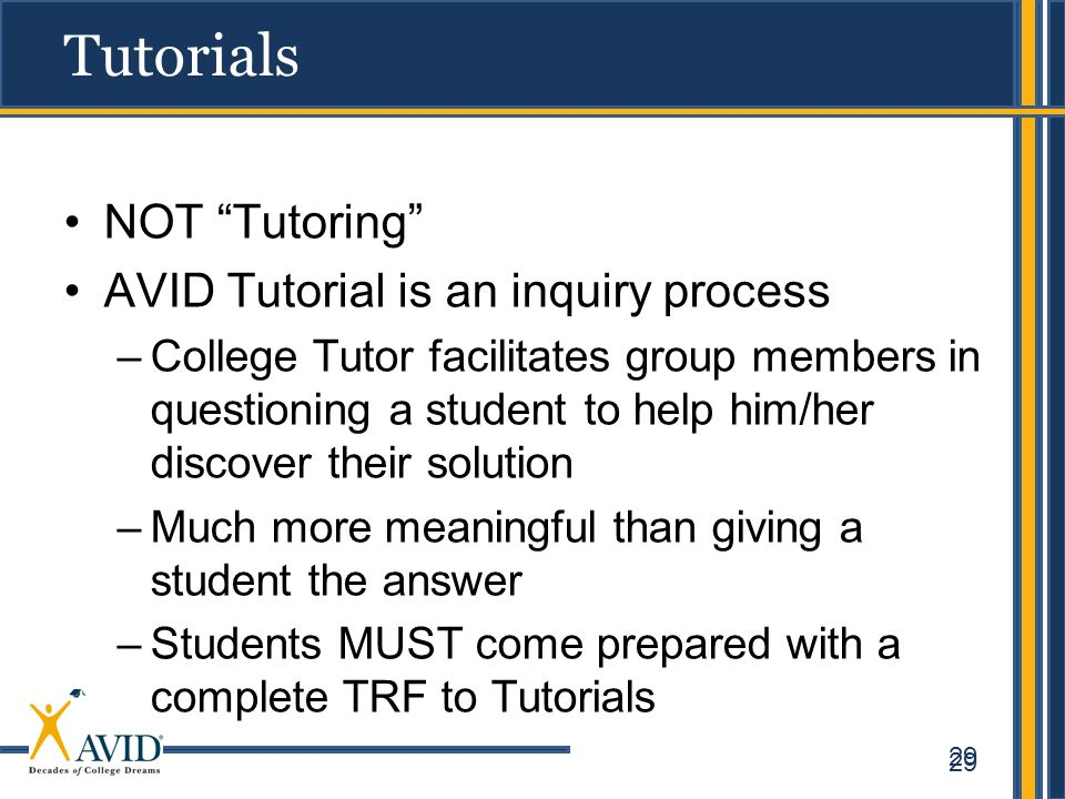 Tutorials NOT Tutoring AVID Tutorial is an inquiry process
