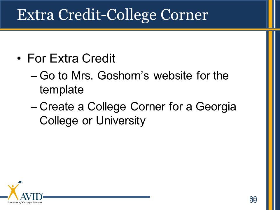Extra Credit-College Corner