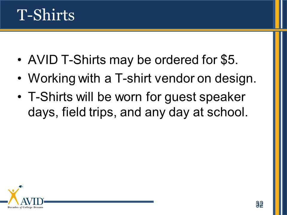 T-Shirts AVID T-Shirts may be ordered for $5.