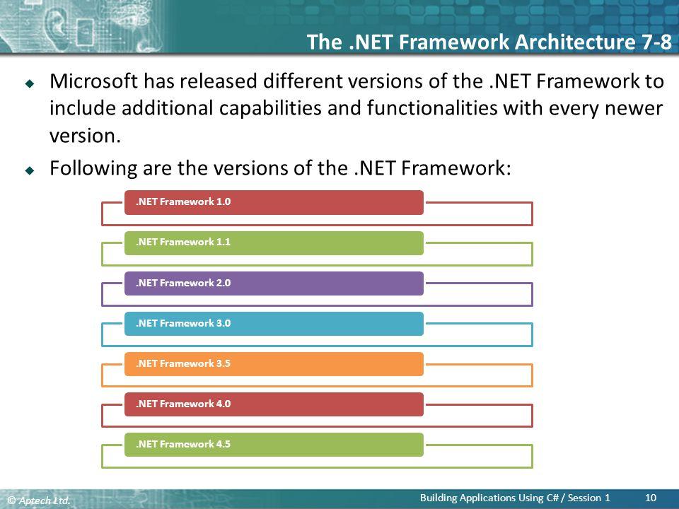 The .NET Framework Architecture 7-8