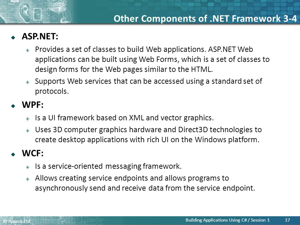 Other Components of .NET Framework 3-4