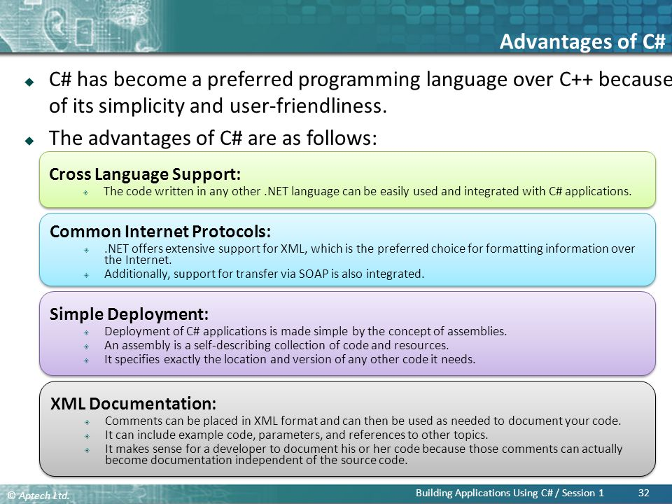 Advantages of C# C# has become a preferred programming language over C++ because of its simplicity and user-friendliness.