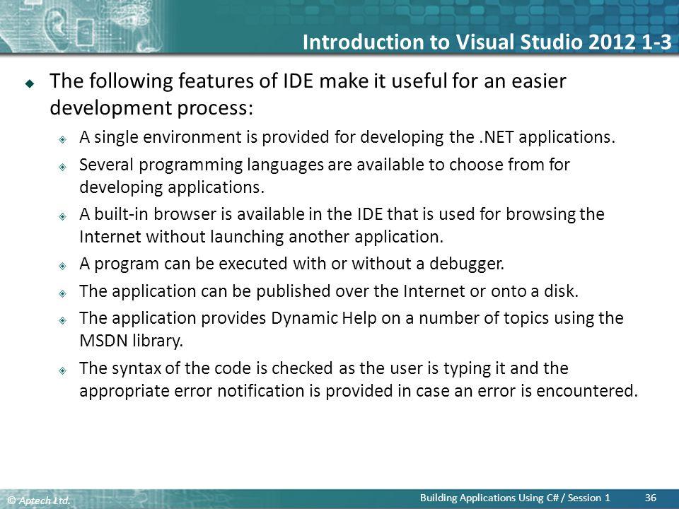 Introduction to Visual Studio 2012 1-3