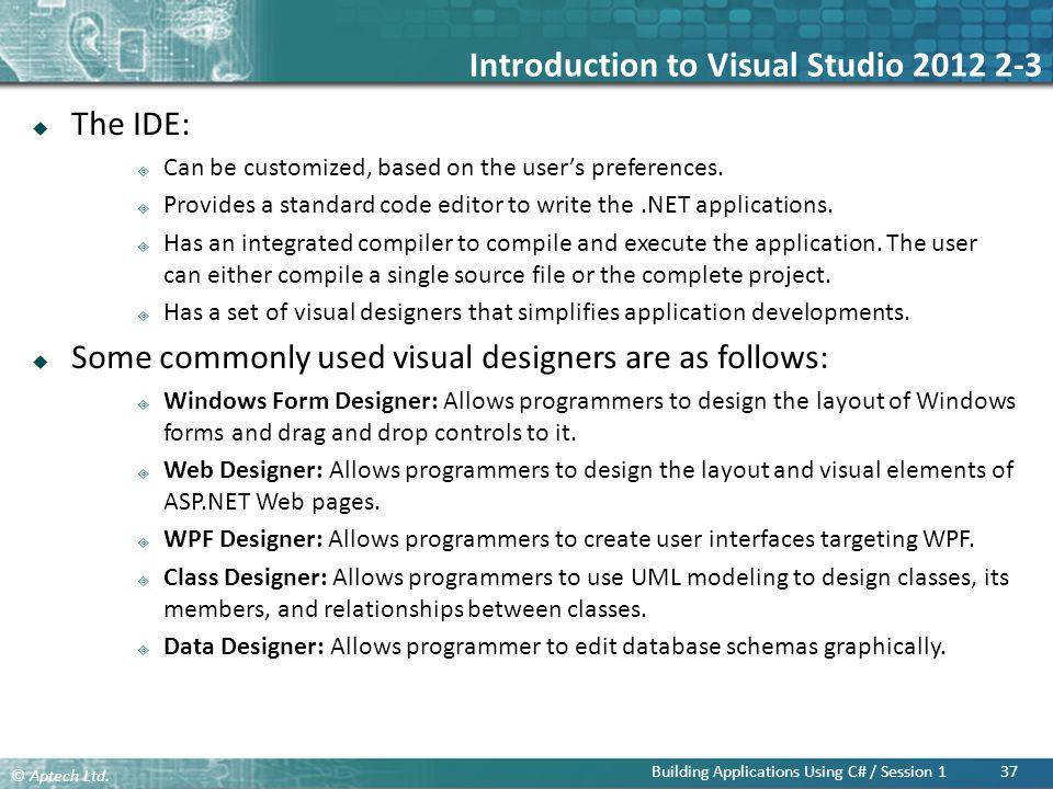 Introduction to Visual Studio 2012 2-3