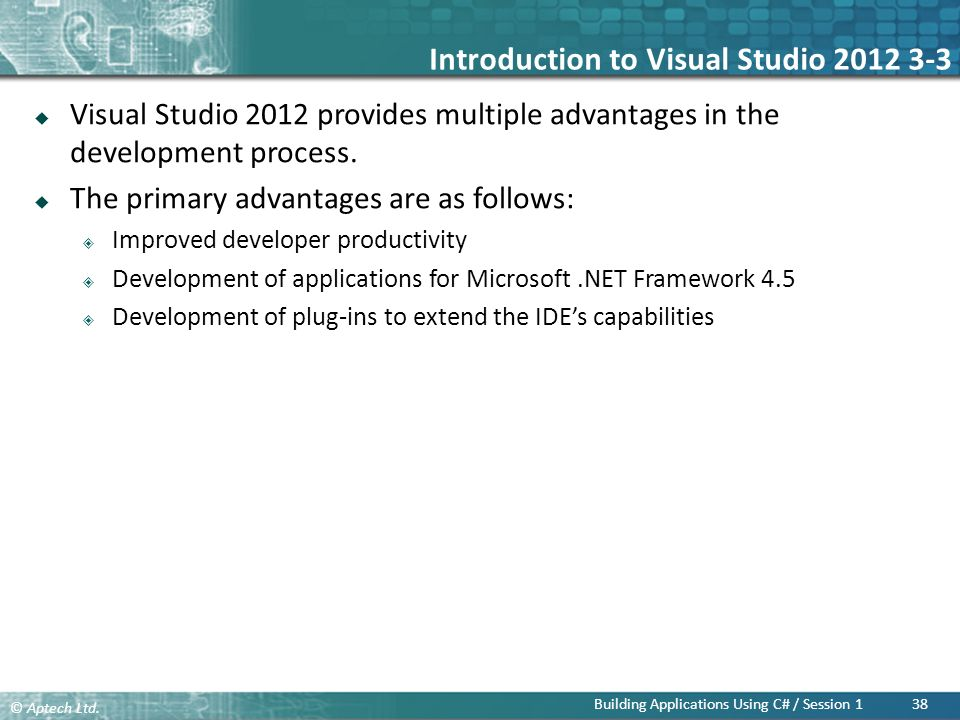 Introduction to Visual Studio 2012 3-3