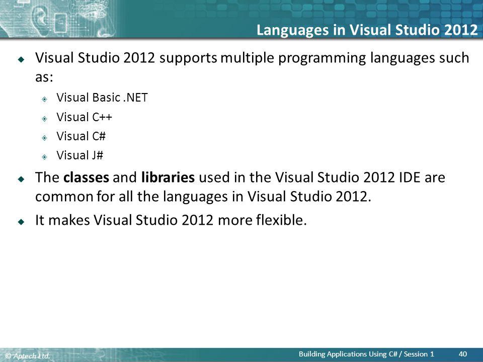 Languages in Visual Studio 2012