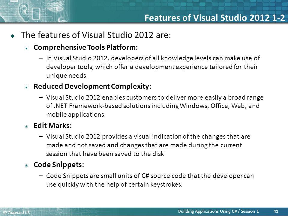 Features of Visual Studio 2012 1-2
