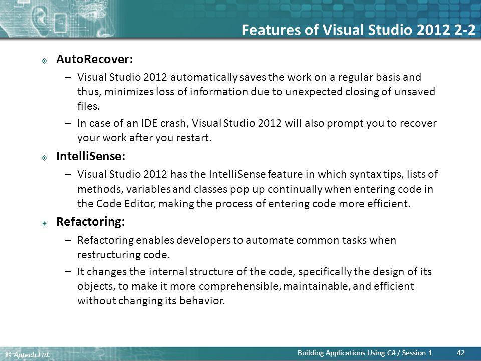 Features of Visual Studio 2012 2-2
