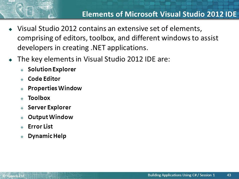 Elements of Microsoft Visual Studio 2012 IDE