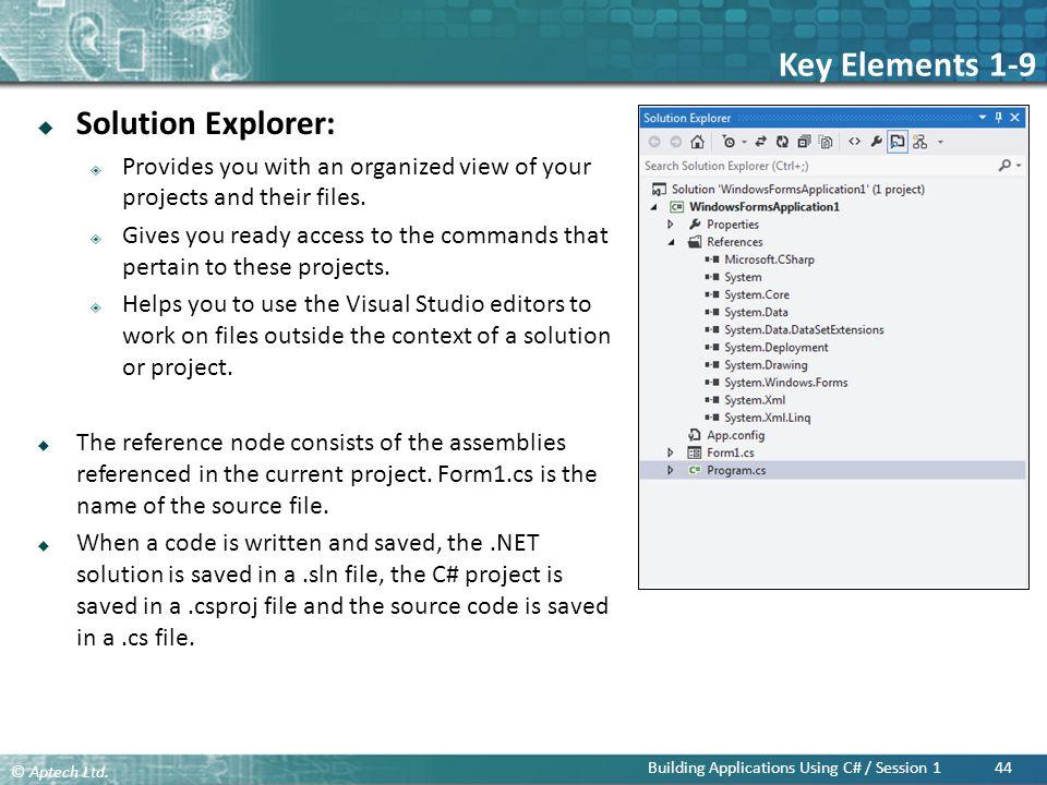 Key Elements 1-9 Solution Explorer: