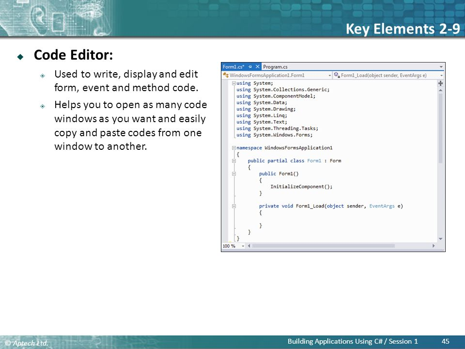Key Elements 2-9 Code Editor:
