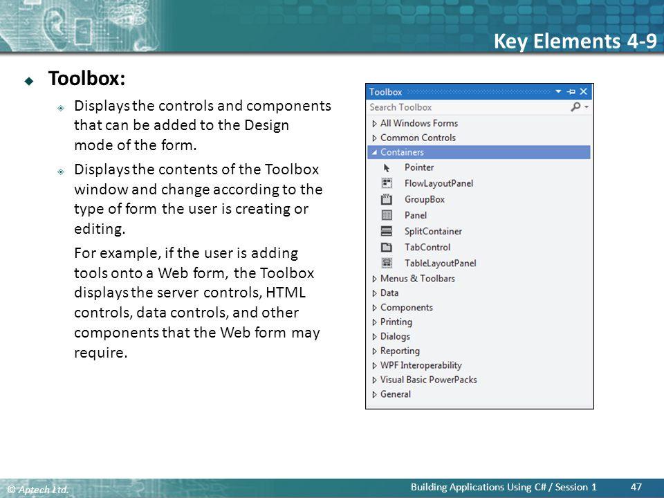 Key Elements 4-9 Toolbox: